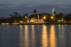 Lagoa da Pampulha (Pampulha's Lake) - Belo Horizonte/MG - Brazil. Lagoa da Pampulha (Pampulha's Lake) at night - Sao Francisco de Assis Church - Belo Horizonte/ Royalty Free Stock Photography