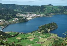 Lagoa das sete cidades bij Sao Miguel Island Royalty-vrije Stock Afbeeldingen