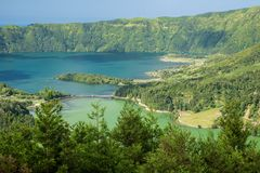 Lagoa das Sete Cidades is located on the island of Sao Miguel, Azores and is characterized by the double coloration of its waters