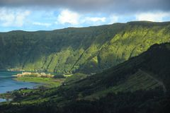 Amazing view of Seven Cities Lake `Lagoa das Sete Cidades`in São Miguel Island - Azores - Portugal. `Lagoa das Sete Cidades`in São Miguel Island - Azores royalty free stock photography