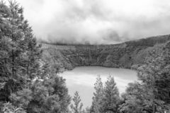 Lagoa de Canario Black and White. Black and white view of Lagoa do Canario on Sao Miguel royalty free stock photos