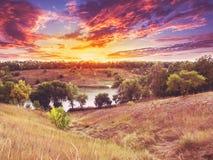 Lagoa de Dokuchaevsky, lago, Rogan, região de Kharkiv Imagem de Stock