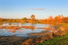 Lagoa de secagem rústica no outono Imagem de Stock Royalty Free