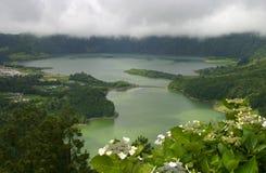 Lagoa de Sete Cidades, sao Miguel, Azzorre, Portogallo Immagini Stock