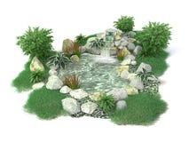 Lagoa decorativa em um fundo branco em 3D Foto de Stock Royalty Free
