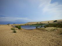 A lagoa dentro das dunas fotografia de stock royalty free