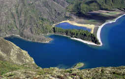 Lagoa do fogo, Azores. Picture taken of the famous lake named Lagoa do fogo shot in the Azores islands Portugal blue green Atlantic ocean volcano royalty free stock photos