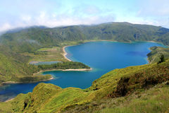 Lagoa do Fogo - het eiland van Saomiguel, de Azoren, midden van de Noord-Atlantische Oceaan stock foto