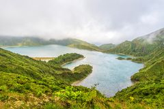 Lagoa do Fogo on the island of Sao Miguel in the Azores, Portugal Royalty Free Stock Photo