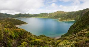 Lagoa do Fogo Lake of Fire panorama, Sao Migel, Azores Islands