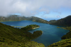 Lagoa do Fogo, San Miguel, Azores. Lagoa do Fogo, Azores, Portugal. It's a place where you can see a lake and Atlantic ocean at once Stock Image