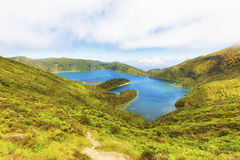 Lagoa do Fogo, volcanic crater lake Royalty Free Stock Image