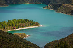 Lagoa do Fogo, a volcanic lake in Sao Miguel, Azores Royalty Free Stock Photos