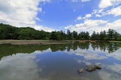 Lagoa do ike de Oizumi GA do templo de Motsu em Hiraizumi fotos de stock royalty free