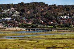 Lagoa do Los Penasquitos em Torrey Pines State Beach Near La Jolla, Califórnia Foto de Stock