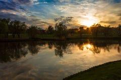 Lagoa do por do sol Fotos de Stock Royalty Free