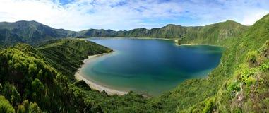 Lagoa font le panorama 13 de Fogo Photographie stock