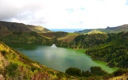 Lagoa Funda, isola di Flores Fotografia Stock