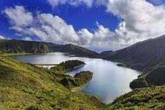 Lagoa gör Fogo på den San Miguel ön av Azores Fotografering för Bildbyråer