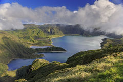 Lagoa gör Fogo på den San Miguel ön av Azores Arkivfoto