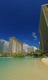 Lagoa na vila havaiana do hilton em Havaí agradável! foto de stock