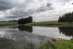 Lagoa nas madeiras antes da tempestade Foto de Stock