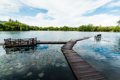 Lagoa natural com o céu azul nebuloso fotografia de stock royalty free