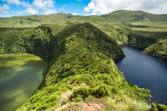 Lagoa Negra and Lagoa Comprida on the Azores island of Flores, P Royalty Free Stock Images