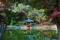 Lagoa no jardim secreto no palácio de Changdeokgung, Seoul Foto de Stock Royalty Free