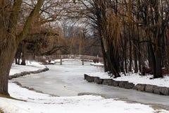 Lagoa no parque, ponte no fundo Foto de Stock Royalty Free