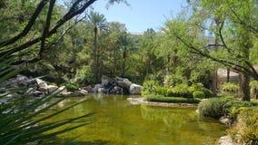 Lagoa por motivos do recurso com rochas e árvores Fotos de Stock