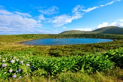 Lagoa Rasa Talerz jezioro - Azores wyspy fotografia royalty free