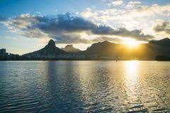 Lagoa Rio de Janeiro Brazil Sunset Skyline Stock Photography