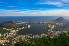 Lagoa Rodrigo De Freitas, Ipanema i Leblon w Rio De Janeiro, obraz royalty free