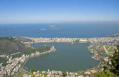 Lagoa Rodrigo de Freitas, Rio de Janeiro, Brasil. Lagoa is an affluent residential neighbourhood located around the Rodrigo de Freitas Lagoon. It borders the royalty free stock images