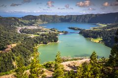 Lagoa Sete Cidades on Azores island.  royalty free stock images