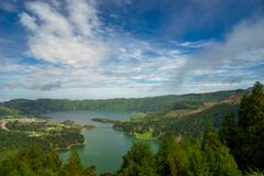 Lagoa Sete Cidades lakes on Sao Miguel island. View of Lagoa Sete Cidades lakes on Sao Miguel island royalty free stock images