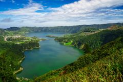 Lagoa Sete Cidades lakes on Sao Miguel island. View of Lagoa Sete Cidades lakes on Sao Miguel island royalty free stock photography