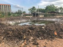 Lagoa sob a construção foto de stock royalty free