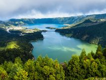 Lagoa Verde and Lagoa Azul, lakes in Sete Cidades volcanic craters on San Miguel island, Azores. Portugal stock photography