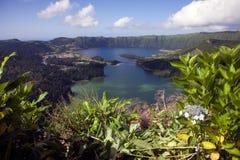 Lagoa Verde and Lagoa Azul at Sete Cidades, Sao Miguel, Azores stock photo