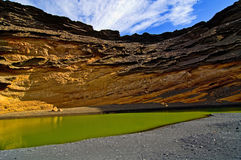 Lagoa verde em Lanzarote Fotografia de Stock Royalty Free