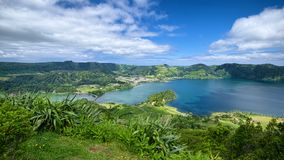 Lagoa Verde and Lagoa Azul lakes, Sao Miguel island, Azores, Portugal. Lagoa Verde and Lagoa Azul, two adjacent lakes in wide volcanic crater called Sete Cidades royalty free stock photography