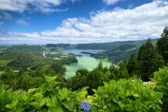 Lagoa Verde and Lagoa Azul lakes, Sao Miguel island, Azores, Portugal. Lagoa Verde and Lagoa Azul, two adjacent lakes in wide volcanic crater called Sete Cidades stock image