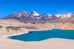 Lagoa verde (Laguna Verde), o Chile Foto de Stock