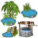 Lagoas diferentes da miniatura do vetor com poço do clássico ilustração royalty free