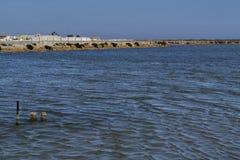 Lagoas salinas no ³ n de MazarrÃ, Cartagena, Múrcia, Espanha imagem de stock