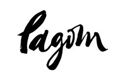 Lagom Swedish word mean temperance lettering. LAGOM lettering. It is a Swedish word meaning just the right amount. Hand drawn calligraphy inscription. Brush pen Stock Photography