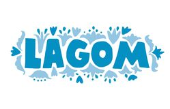 Lagom Swedish word mean temperance lettering. LAGOM a Swedish word meaning just the right amount. Hand drawn calligraphy inscription. Brush pen modern lettering Royalty Free Stock Photos