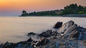 Lagomandra海滩阴霾 免版税库存图片